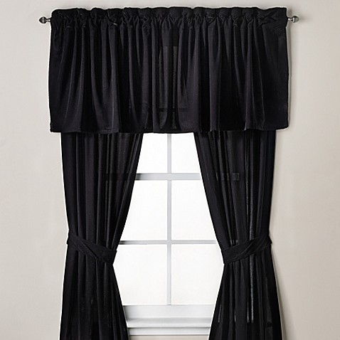 Velvet Window Curtain Panel And Valance In Black Bed
