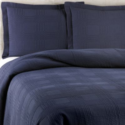 Traditions Linens Farrah Twin Coverlet in Navy