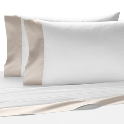 Kassatex Vicenza King Flat Sheet in White/Ash