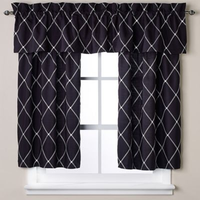 Wellington 45-Inch Window Curtain Tier Pair in Black/White