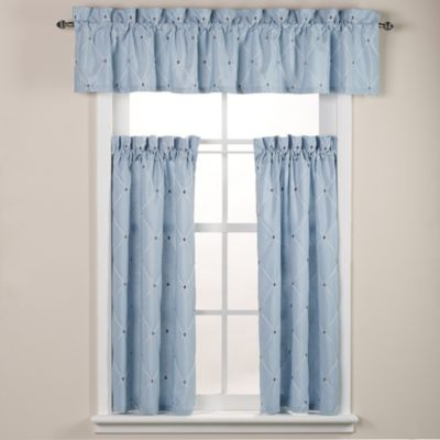 Wellington Bath Window Curtain Tier in Blue