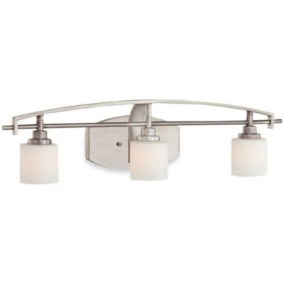 Taylor 3-Light Bathroom Fixture in Antique Nickel with Opal Etched Glass Shades