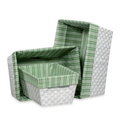 Storage Decor Hand Woven White Basket with Green Stripe Liner