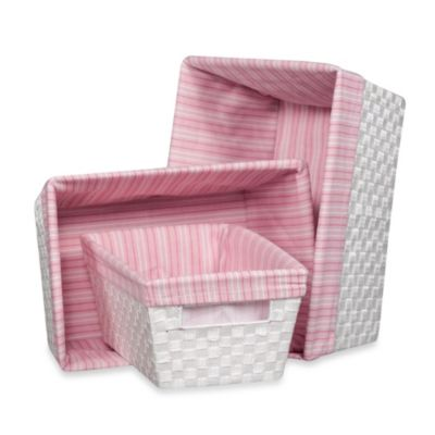 The pink and mini dot decorative storage bins offer a blend of fashion and versatility. You can use them in virtually any space, whether it is in an office or a dorm. Kids can use them to keep their rooms clutter-free. The outside is solid pink, while the interior features a polka dot pattern. They have tapered sides and inset grommet handles.