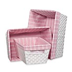 Storage Decor Hand Woven White Basket with Pink Stripe Liner