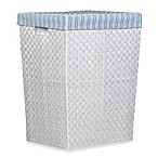 Storage Decor Hand Woven White Hamper with Blue Stripe Liner