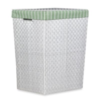 Storage Decor Hand Woven White Hamper with Green Stripe Liner