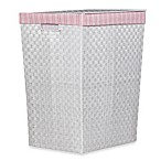 Storage Decor Hand Woven White Hamper with Pink Stripe Liner