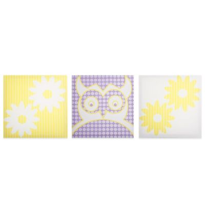 Modern Littles Owl Flowers Canvas Print (Set of 3)