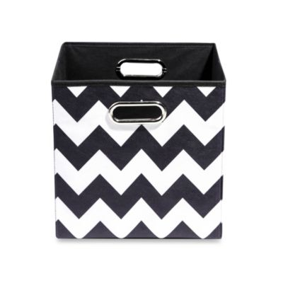 Modern Littles Bold Folding Storage Bin in Chevron Black