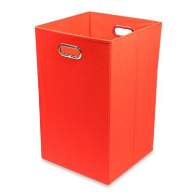 Modern Littles Smarty Pants Solid Folding Laundry Basket in Red