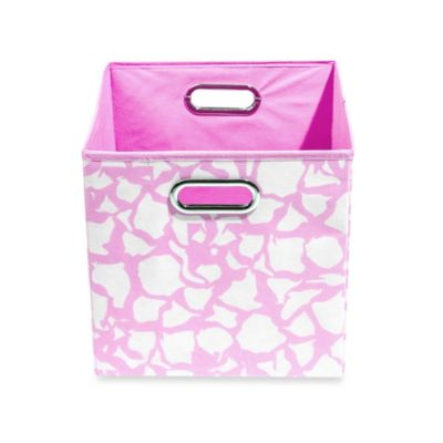 Modern Littles Folding Storage Bin in Pink Giraffe