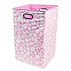 Modern Littles Smarty Pants Solid Folding Laundry Basket in Rose Giraffe