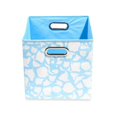 Modern Littles Folding Storage Bin in Sky Giraffe