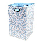 Modern Littles Smarty Pants Solid Folding Laundry Basket in Sky Giraffe