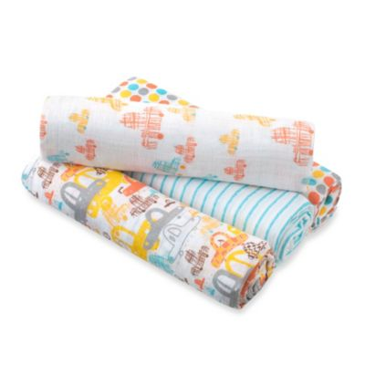 aden™ by aden + anais® for Zutano 4-Pack Cotton Muslin Swaddle in Car/Blue