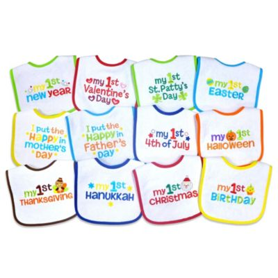 Neat Solutions® 12-Pack Baby's 1st Year Holiday Bibs