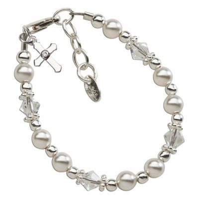 Cherished Moments Sterling Silver Christening Bracelet with Swarovski Pearls, Crystals and Cross
