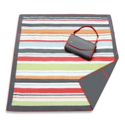 JJ Cole® 5-Foot x 7-Foot All-Purpose Outdoor Blanket in Grey/Red Stripe
