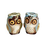 Gibson Home Natures Owl Salt & Pepper Shaker Set in Blue
