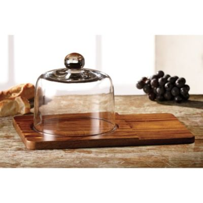 Madera Cheese Board with Glass Dome Set