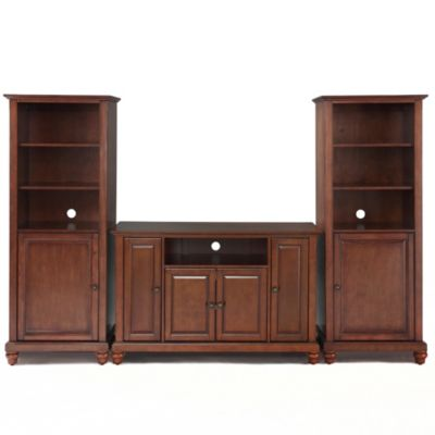 Crosley Cambridge 48-Inch TV Stand with Two 60-Inch Audio Piers in Vintage Mahogany