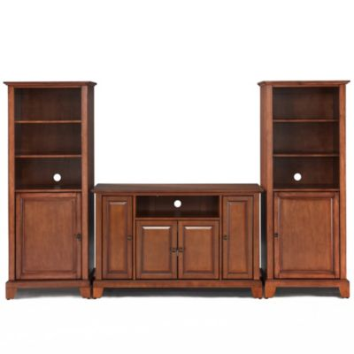 Crosley Newport 48-Inch TV Stand with Two 60-Inch Audio Piers in Vintage Mahogany