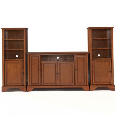 Crosley Lafayette 60-Inch TV Stand with Two 60-Inch Audio Piers in Vintage Mahogany