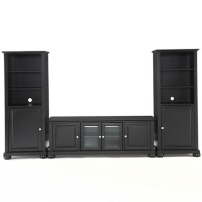 Crosley Alexandria 60-Inch Low Profile TV Stand with Two 60-Inch Audio Piers