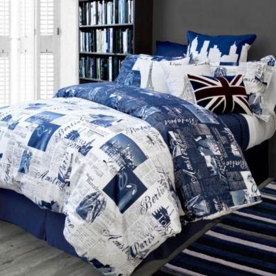 Bedlam Passport Reversible Full/Queen Duvet Cover Set in Blue