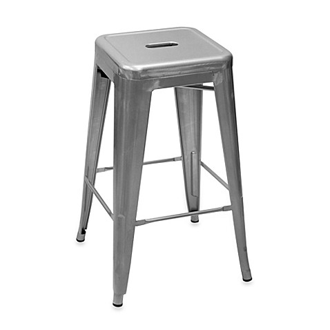 Buy Ampersand 174 24 Inch Galvanized Cafe Stool From Bed Bath