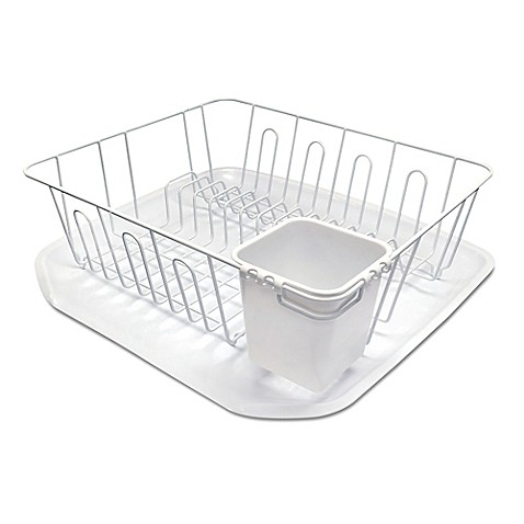 buy small dish rack in white from bed bath beyond. Black Bedroom Furniture Sets. Home Design Ideas