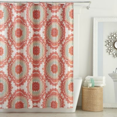 Aqua and Coral Shower Curtain