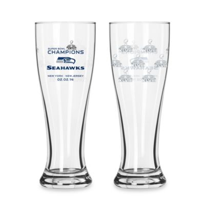 NFL Seattle Seahawks Super Bowl XLVIII Champions 16-Ounce Pilsner Glasses (Set of 2)