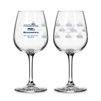 NFL Seattle Seahawks Super Bowl XLVIII Champions 12-Ounce Wine Glasses (Set of 2)