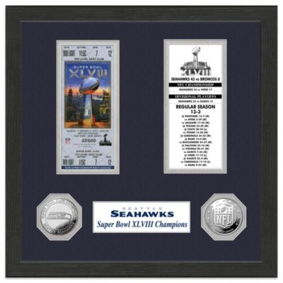 NFL Seattle Seahawks Super Bowl XLVIII Ticket Collection and Coin Frame