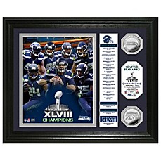 NFL Seattle Seahawks Super Bowl XLVIII Champions Banner Silver Coin Photo Mint Frame