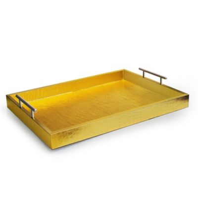 Alligator Tray with Metal Handles in Gold