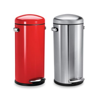 simplehuman® Retro Fingerprint-Proof Round 30-Liter Step-On Trash Can in Red Steel