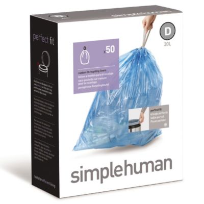 simplehuman® Code D 50-Pack 5.2-Gallon Custom Fit Recycling Liners