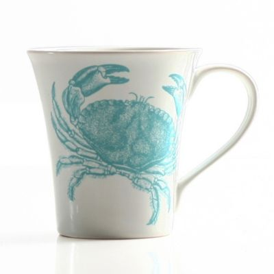 Coastal Life Crab Mug in Teal Blue