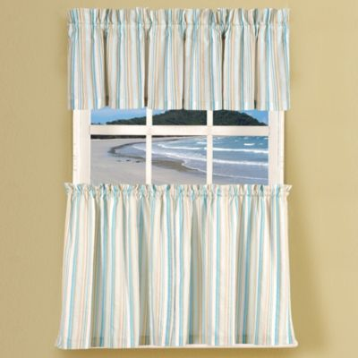 Natural Shells Stripe 36-Inch Window Curtain Tier Pairs in Blue/Multi