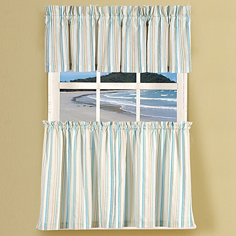 Natural Shells Stripe Window Curtain Tier Pairs And