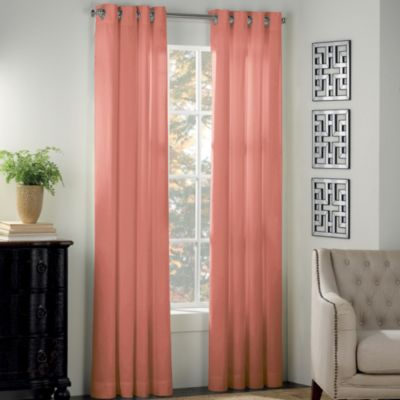 Newport 54-Inch Grommet Window Panel in Coral