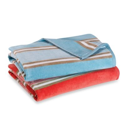 Aqua Stripe Beach Towel in Coral