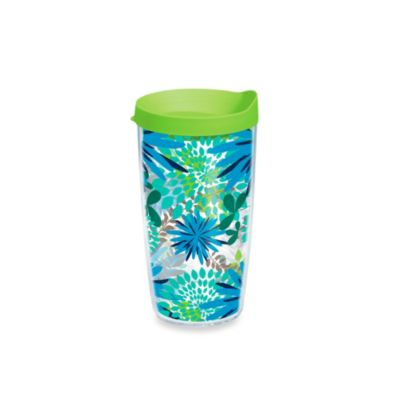 Tervis® Blue Mums Wrap 16-Ounce Tumbler with Green Lid