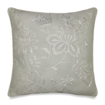 Floral Embroidery Square Toss Pillow
