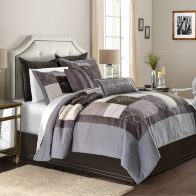 Rochelle Patchwork Faux Silk with Embellished Velvet Queen Comforter Set