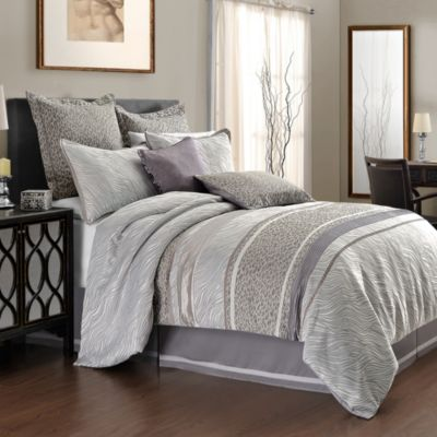 Vienna Mixed Animal Print Queen Comforter Set in Grey