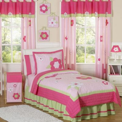 Sweet Jojo Designs Flower Standard Pillow Sham in Pink/Green
